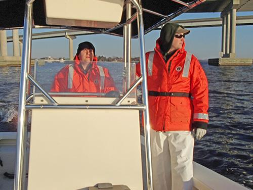 commercial observers on a boat