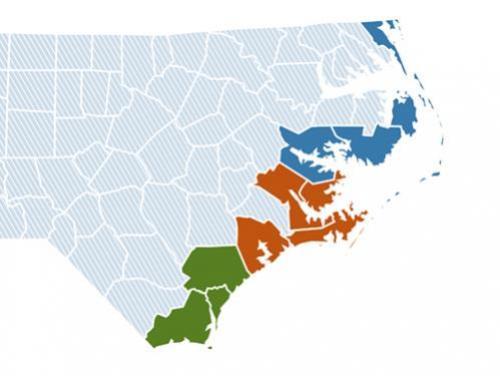 North Carolina Coastal Counties Map