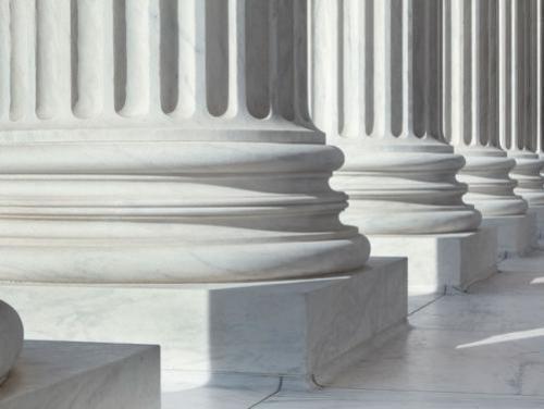 White building pillars