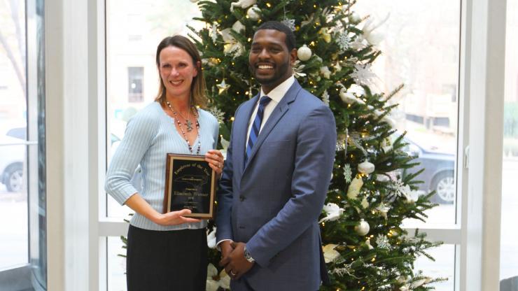 DWM Employee of the Year Elizabeth Werner with DEQ Secretary Michael Regan