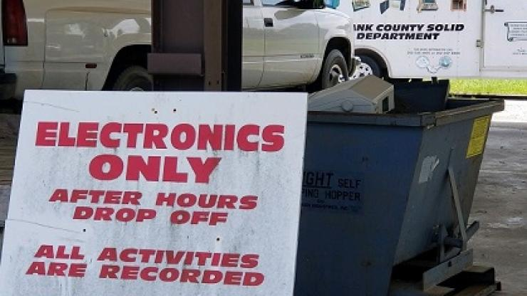 Photo of Pasquotank County's electronics drop-off area and mobile pick up trailer
