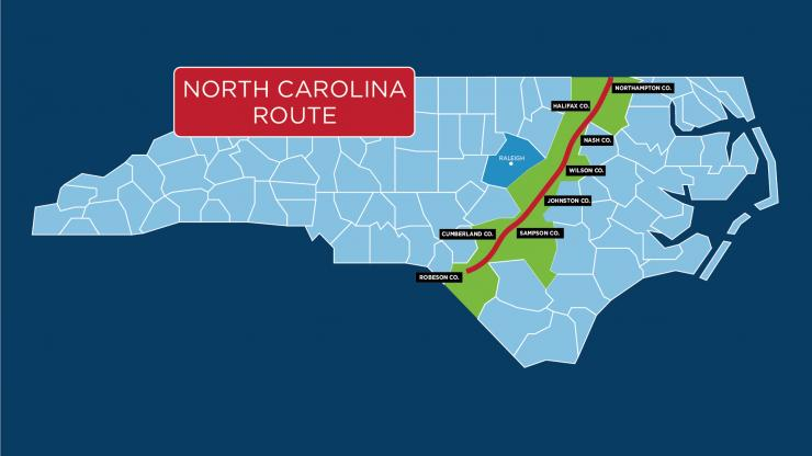 Map of pipeline impacts in North Carolina