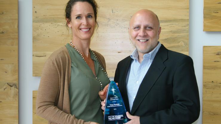 Tony Pendola, left, received the Karen V. Brown Leadership Award from the national network of Small Business Environmental Assistance Programs