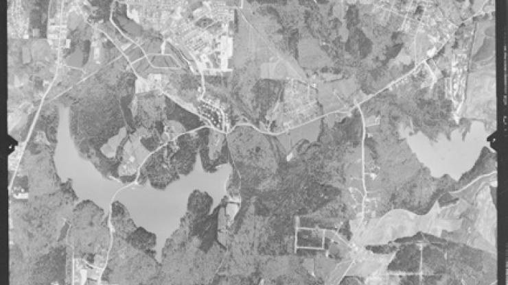 """Example aerial photograph 9"""" print (resized smaller here) of the Lake Johnson area, Raleigh, Wake County. Photograph is from March 25, 1959."""
