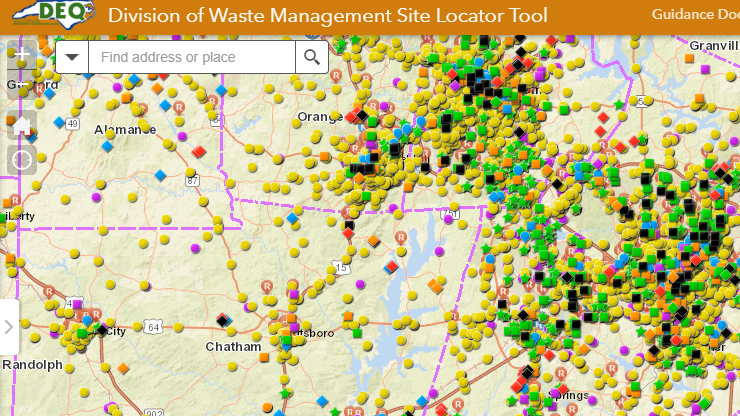 Map view of the Division of Waste Management Site Locator Tool