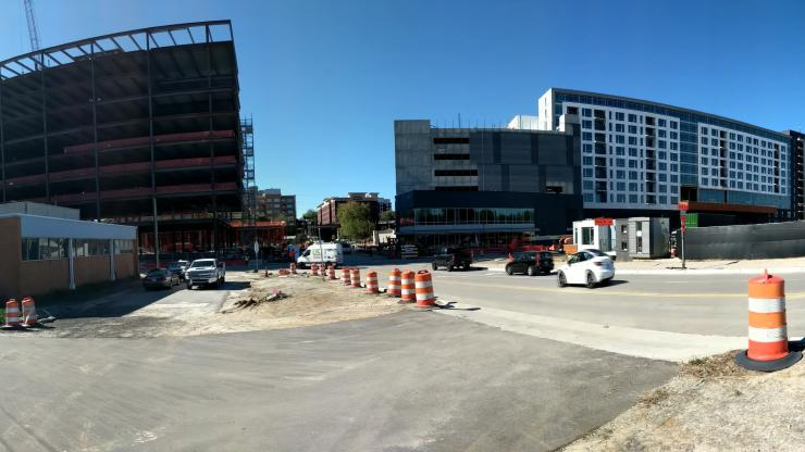Panoramic view of the brownfields sites being developed on Peace Street in Downtown Raleigh