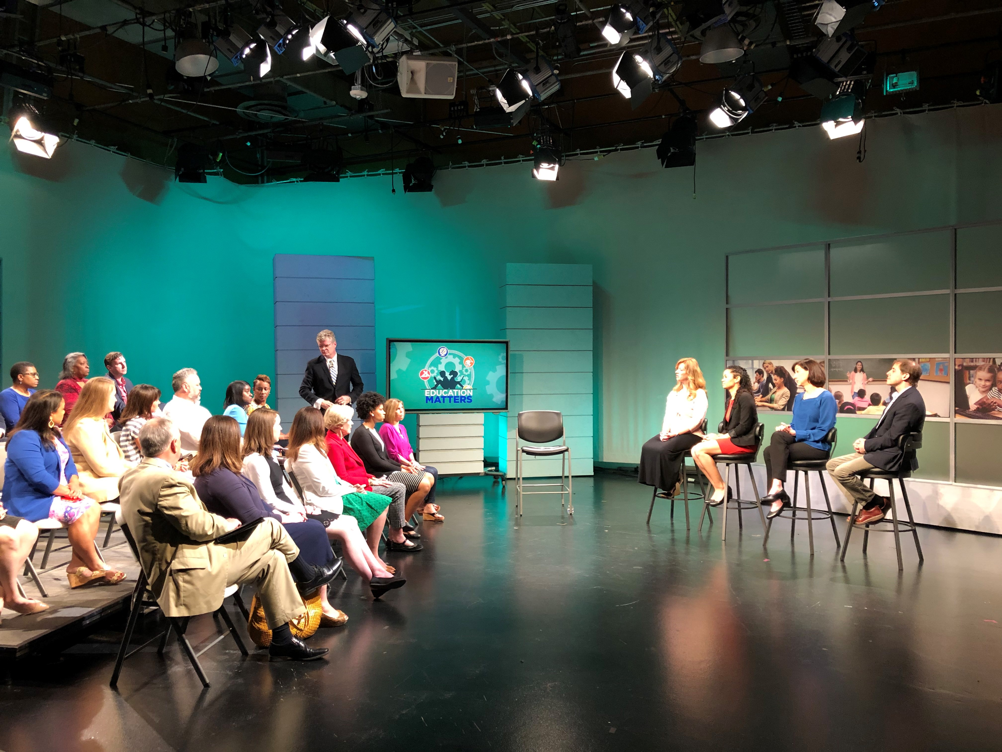 """Audience and panel from the """"How Do We Keep Our Children Safe?"""" """"Education Matters"""" episode featuring Dr. Carrie Brown."""