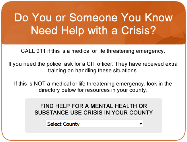 Do You or Someone You Know Need Help with a Crisis? Click for more information.