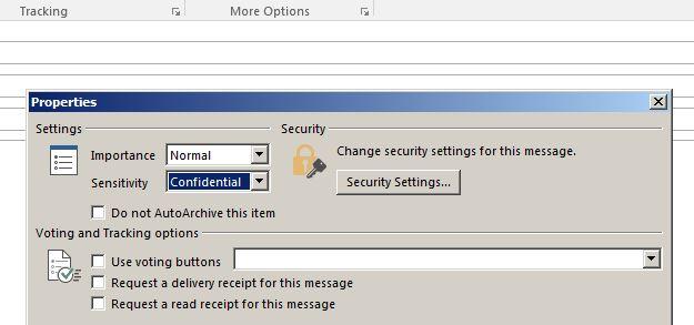 Marking message sensitivity confidential