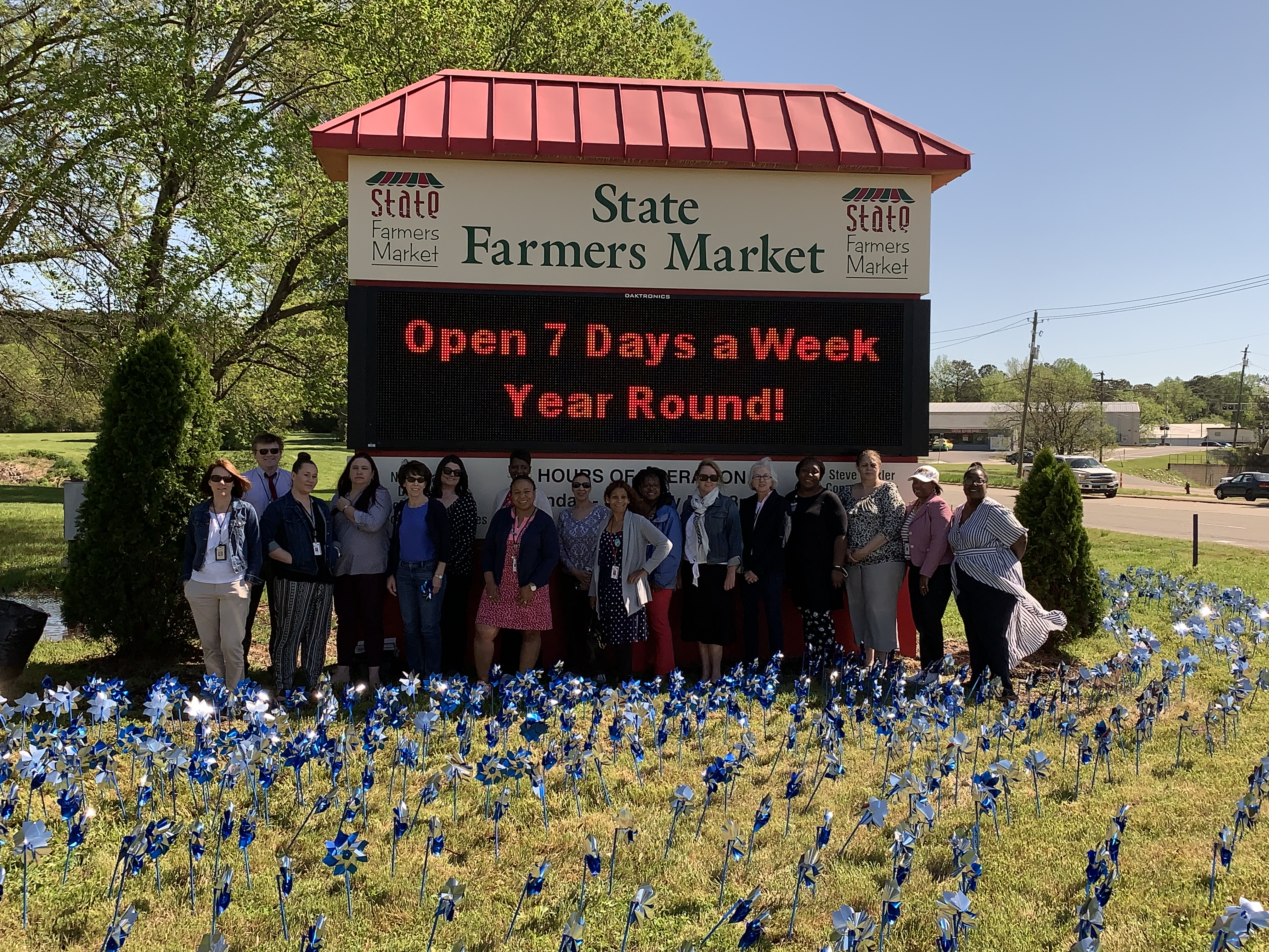 DHHS employees who planted at the Farmers Market