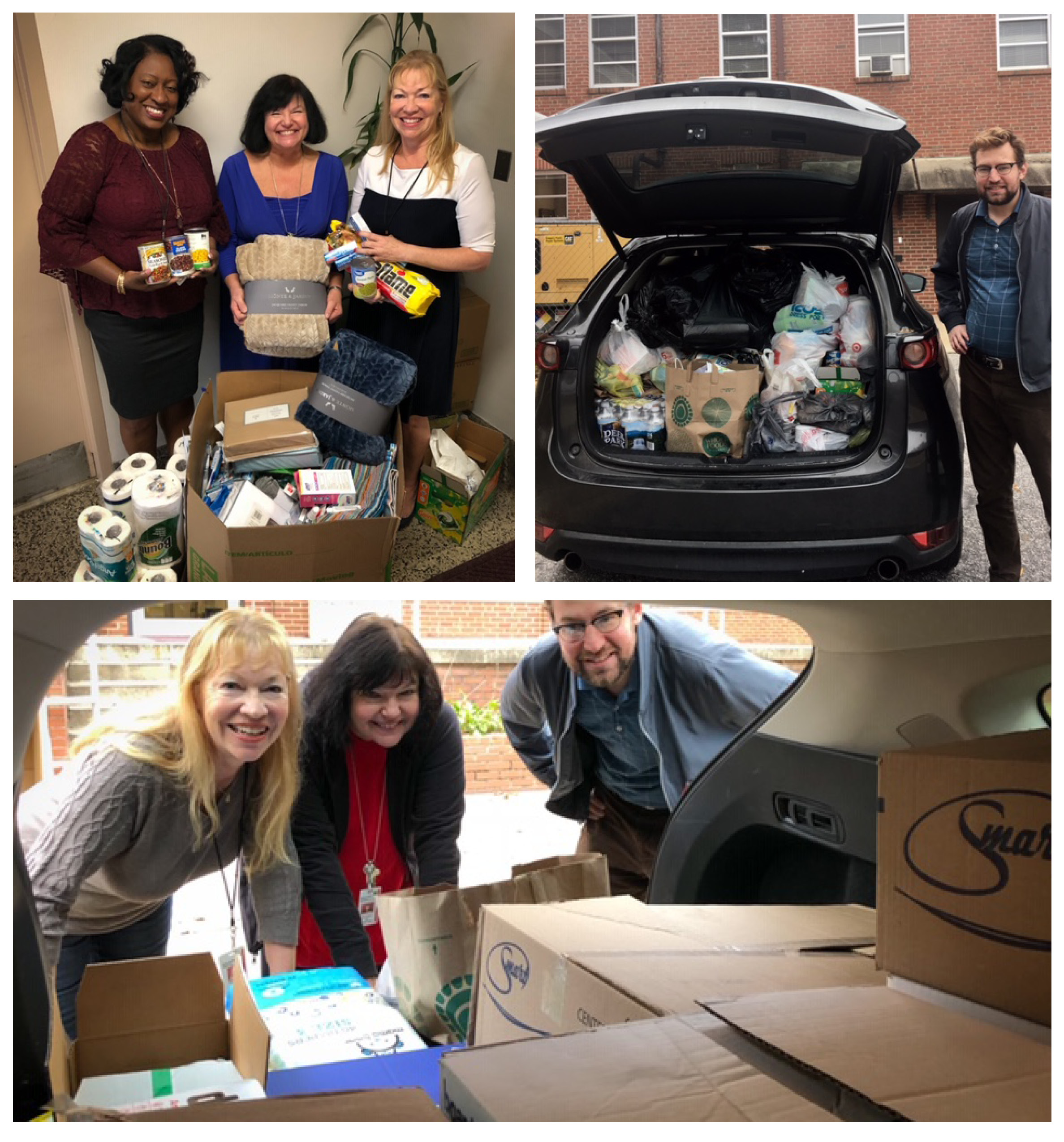 "Medicaid employees Betty ""BJ"" Jones, Pam Greeson and Janis Peirce with donations, and helping load the SUV with Andrew Bryk."
