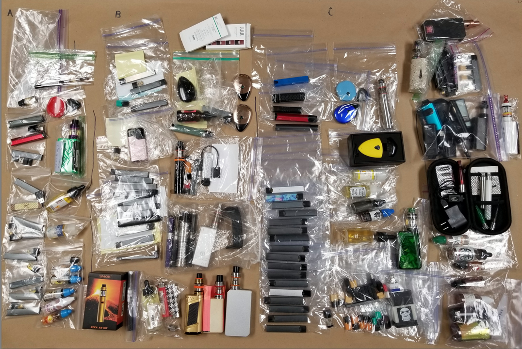 e-cigarettes collected from the seven schools