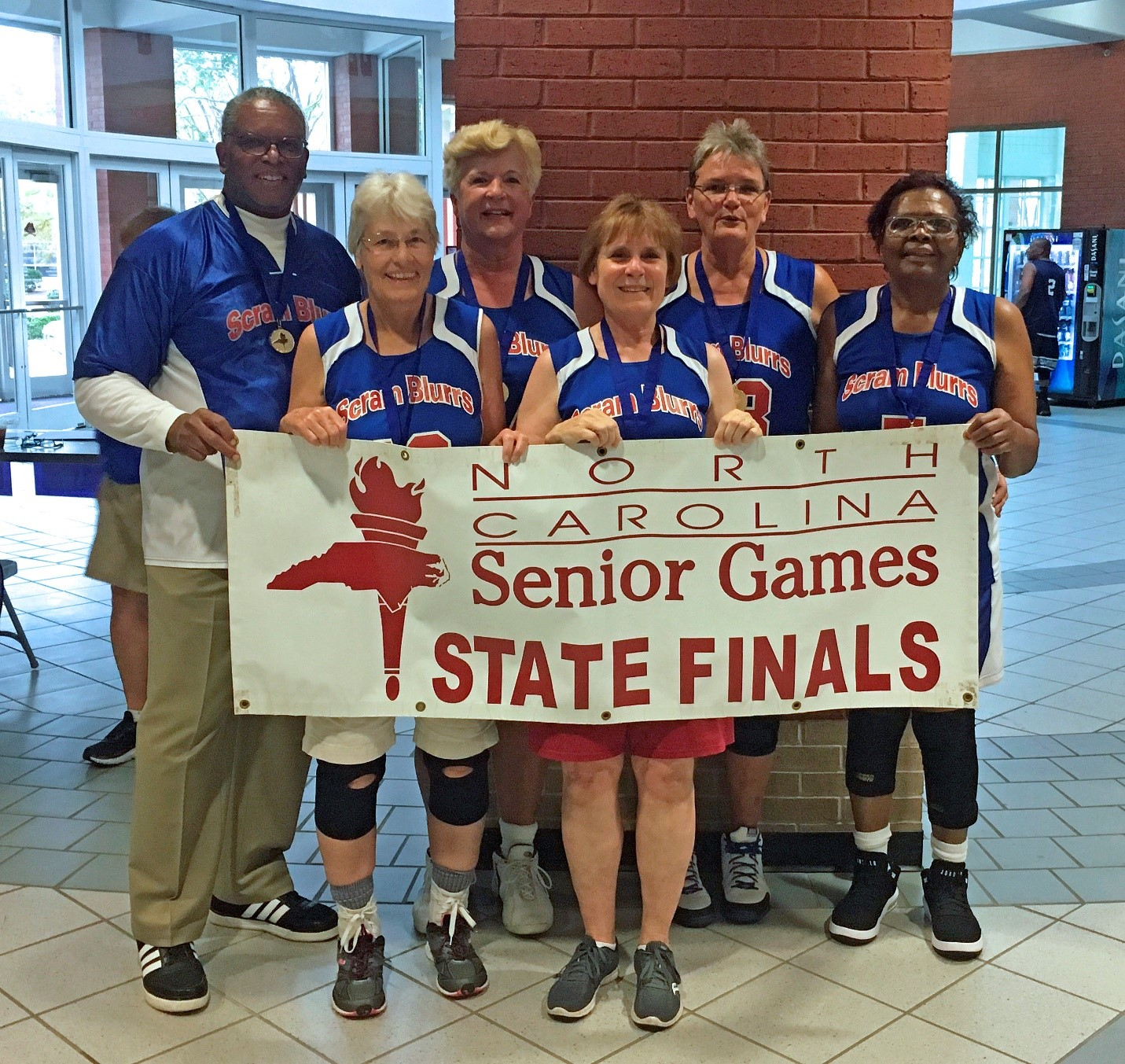 ScramBlurrs team (left to right) includes: Coach Edward Cochrane-Brown, teammates Catherine Matthews, Suzette Stroud, Linda Hall, Janice Jackson and Juanita Green.