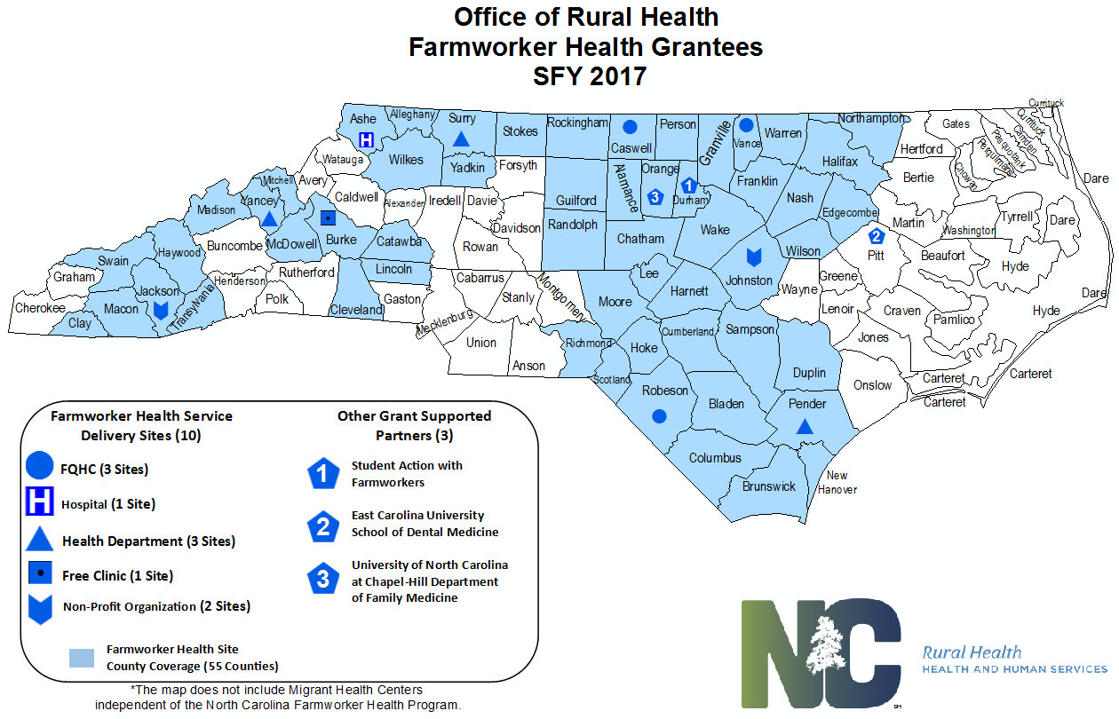State Fiscal Year 2017 NC Farmworker Health Coverage Map