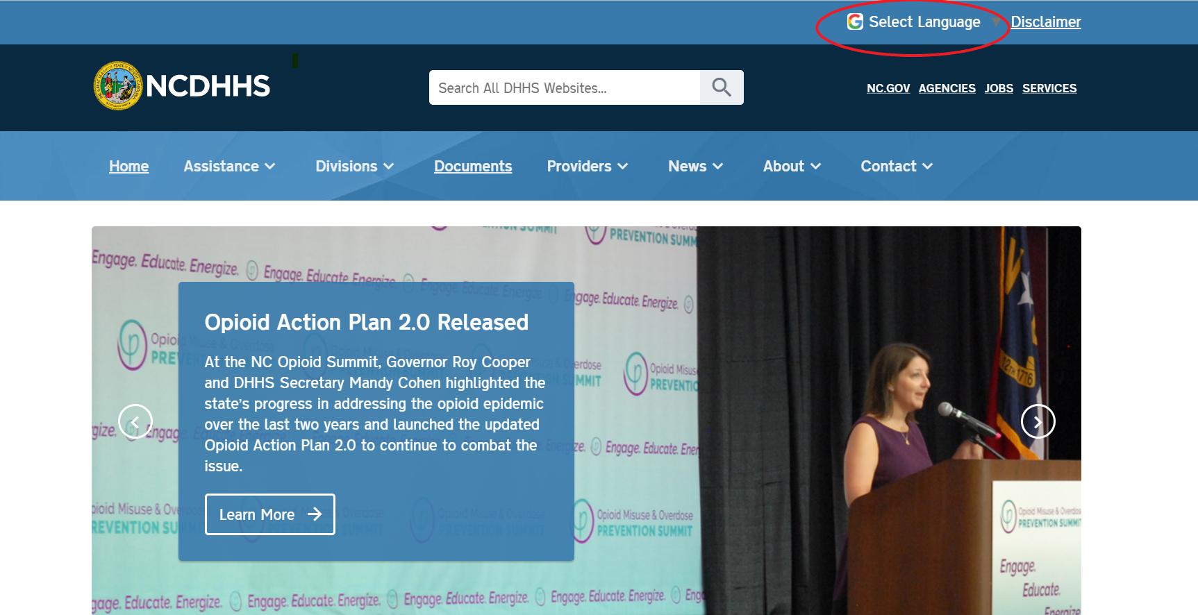 Screenshot of DHHS homepage