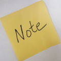 Sticky Note with the word note in handwriting