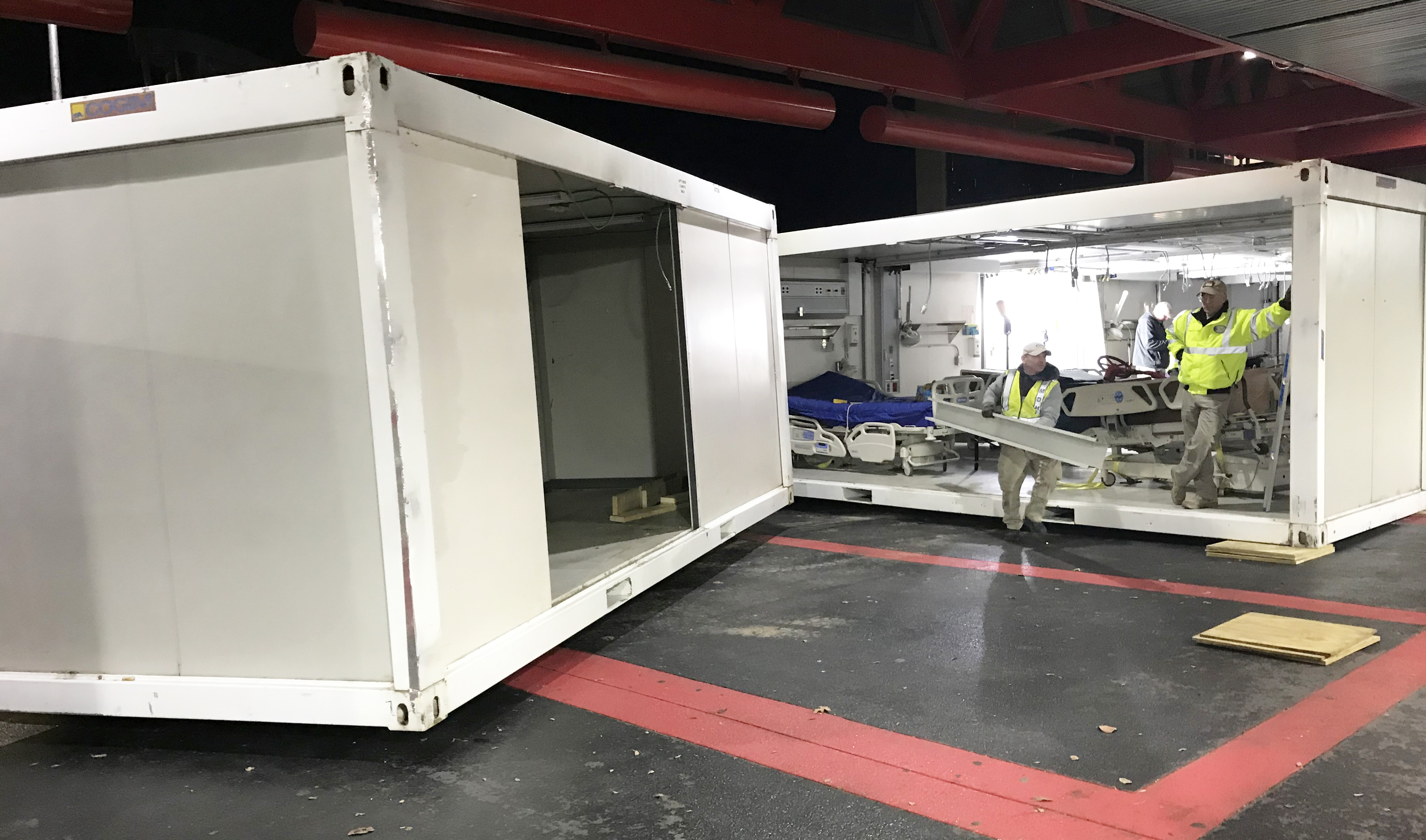 Members of the NCOEMS coordinated team prepared the mobile disaster hospital for deployment to Atlanta Grady Memorial Hospital.
