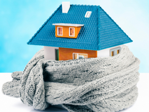 house wrapped in scarf