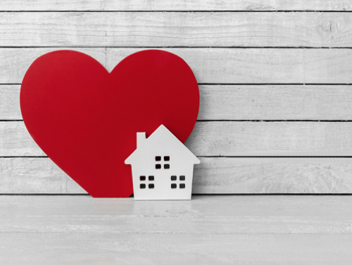 Heart and house graphic.