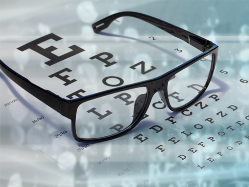 eye glasses on eye chart