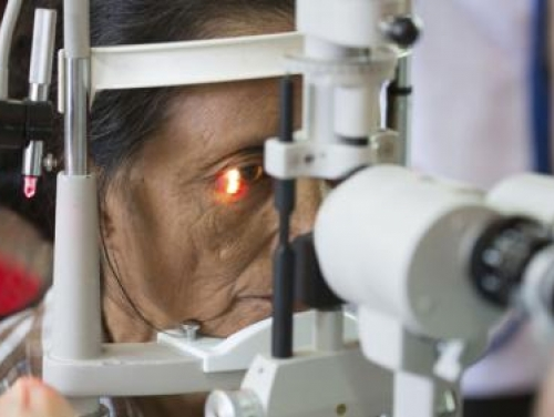 Elderly woman getting eye exam