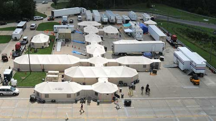 Aerial photo shows elements of the Mobile Disaster Hospital that will deploy to Louisville, Ms.