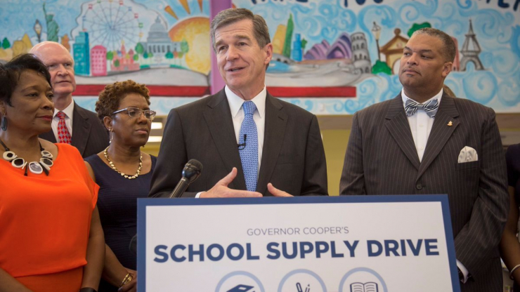 Governor Roy Cooper announces the School Supply Drive