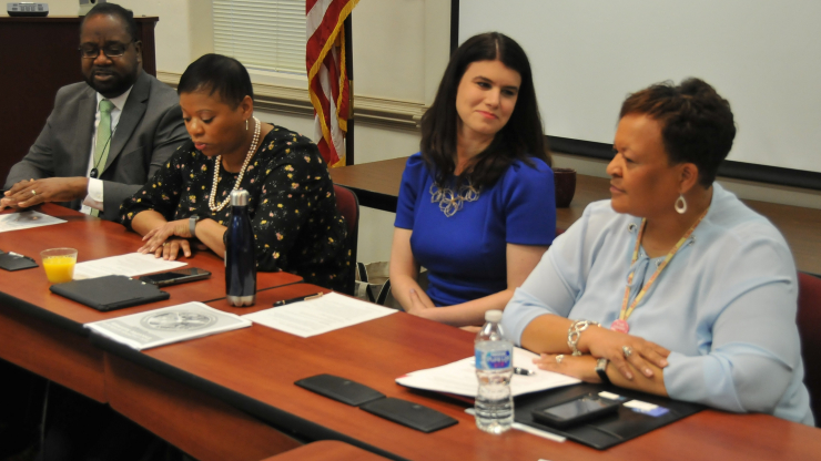 Left-right: Cornell Wright, the executive director of the DHHS Office of Minority Health and Health Disparities; LT McCrimmon, DHHS deputy director of government affairs; Rebecca Planchard, DHHS senior early childhood policy advisor; Belinda Pettiford, DHHS/DPH women's health branch head