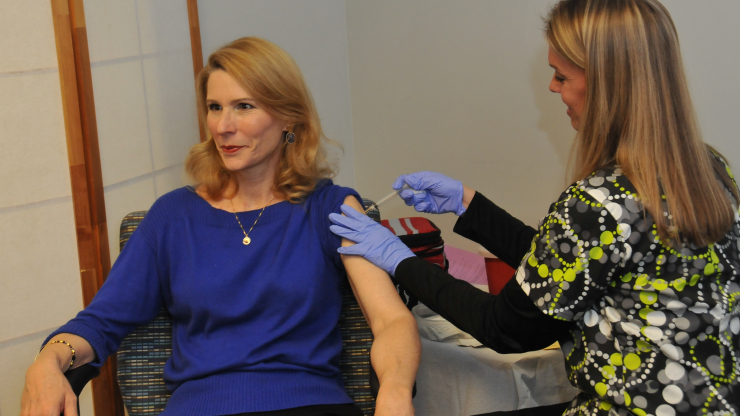 North Carolina First Lady Kristin Cooper receives her flu shot