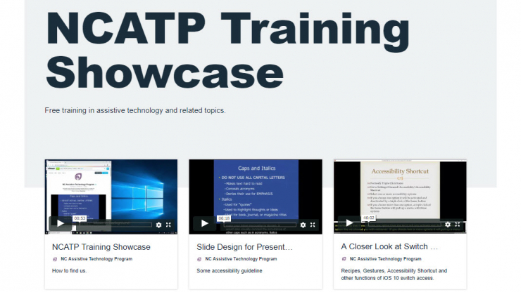 Homepage of the NCATP Training Showcase