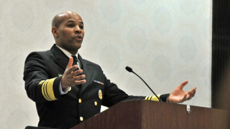 U.S. Surgeon General Jerome Adams speaks on the opening day of the 2019 North Carolina Public Health Leaders' Conference.