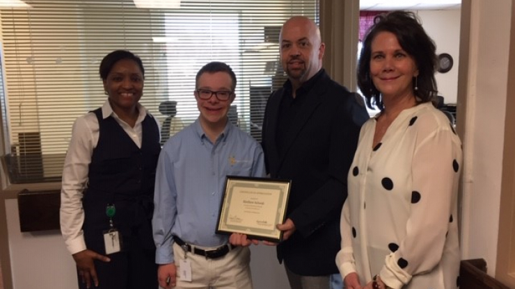 Regina Bell, Assistant Section Chief, Division of Social Services, Economic and Family Services; Matthew Schwab, Project Search Intern; David Locklear, Deputy Director, Division of Social Services, Economic and Family Services; and Lynne Little, NC State Refugee Coordinator