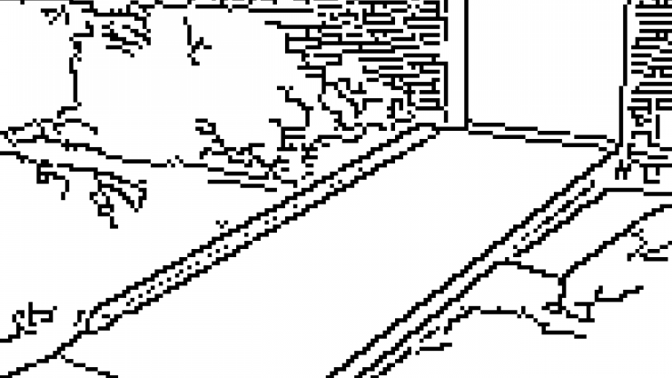 Line drawing of a ramp at a doorway