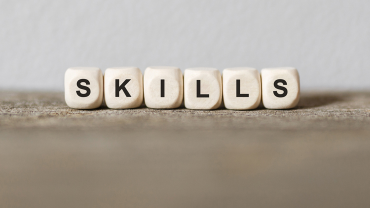 """Photo of """"Skills"""" letters on cubes."""