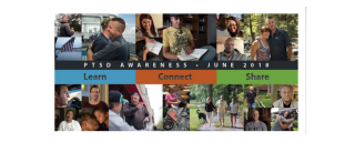 Banner with pictures of veteran and their families and the words Learn Connect Share