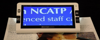 Video magnifier over NCATP brochure