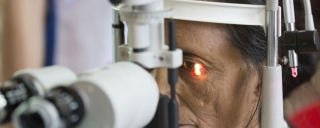 Women receiving eye care