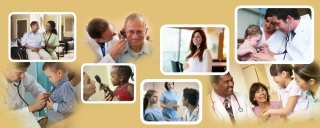 A collage of photos of patients and medical service providers