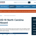 A screenshot of the COVID 19 page on nc.gov