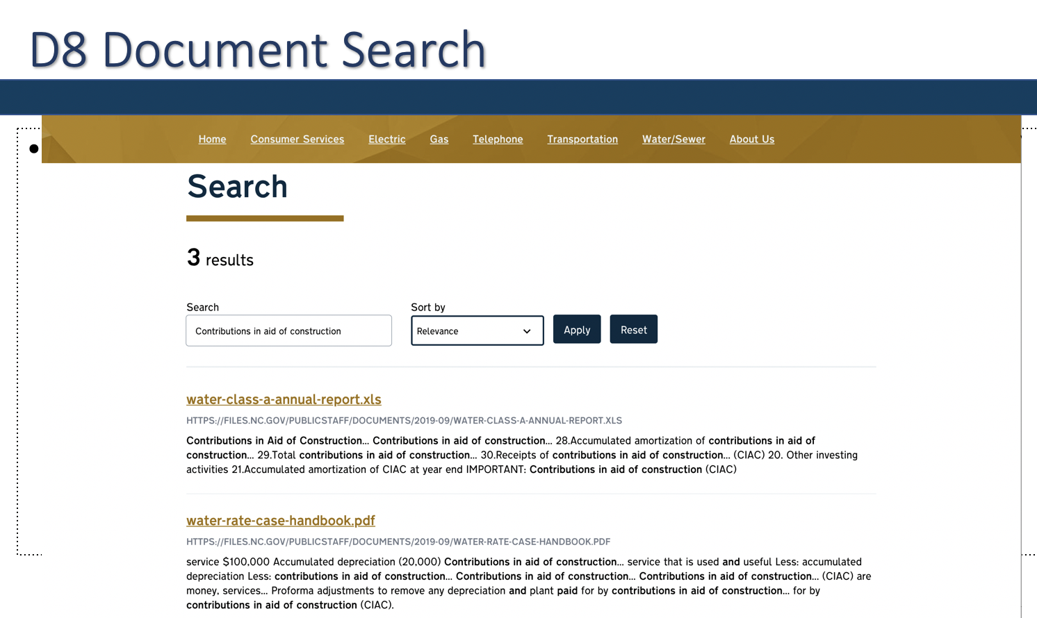 A screen shot of 'search' in Drupal 8 that allows for search within documents.