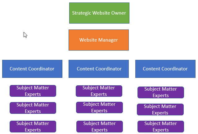 Strategic Website Owner, over Website Manager, over Content Coordinators, Over Subject Matter Experts