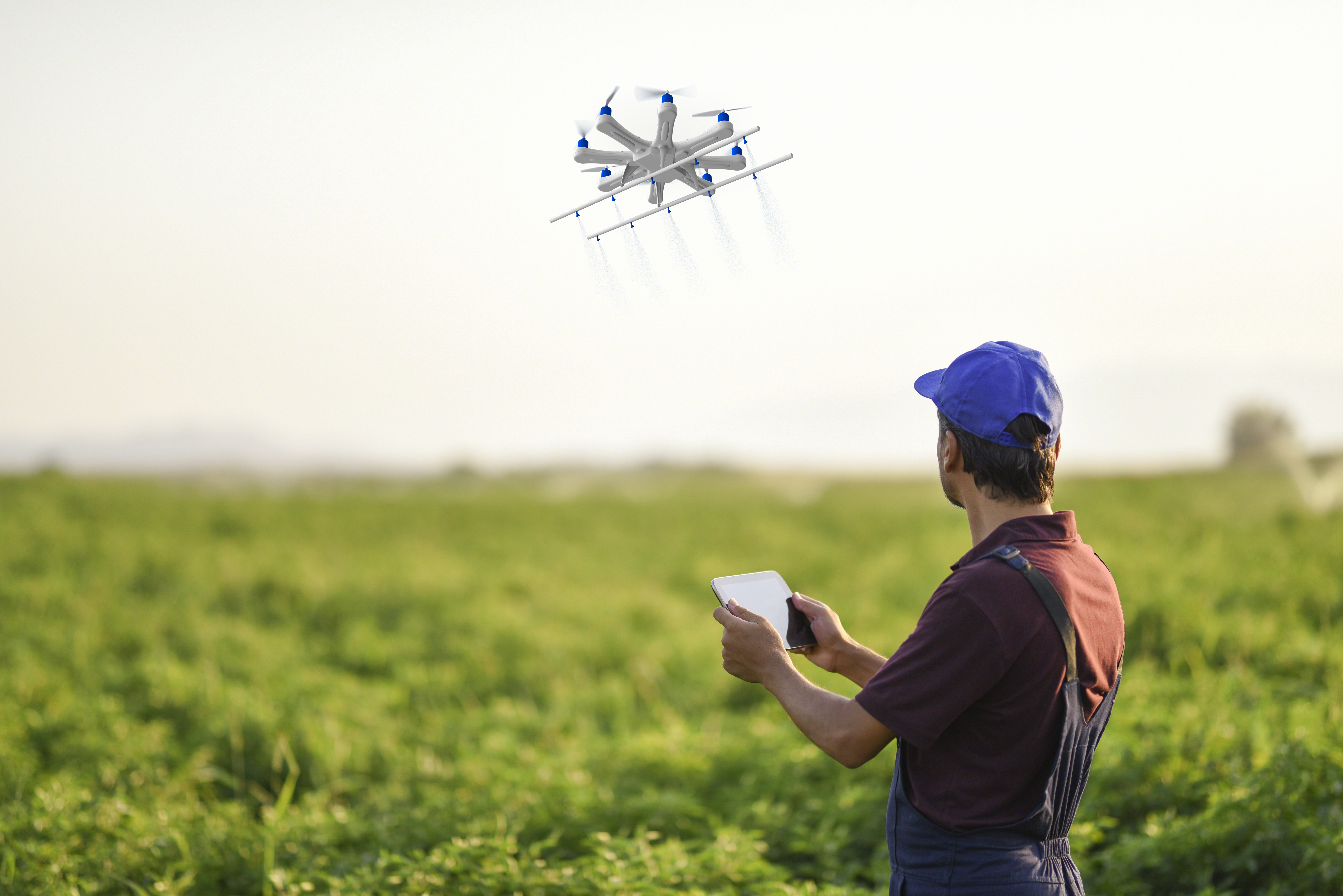 man with drone control