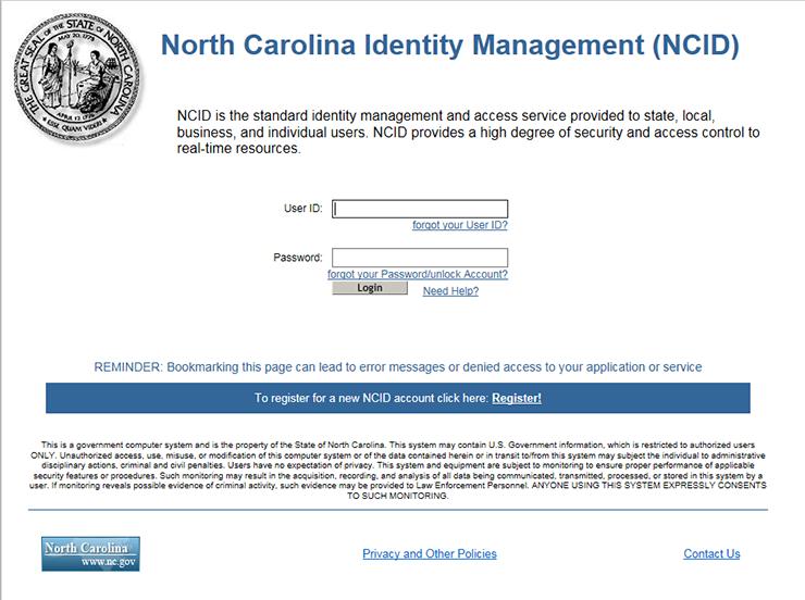NCID login screen