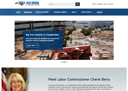 Screenshot of new DOL home page