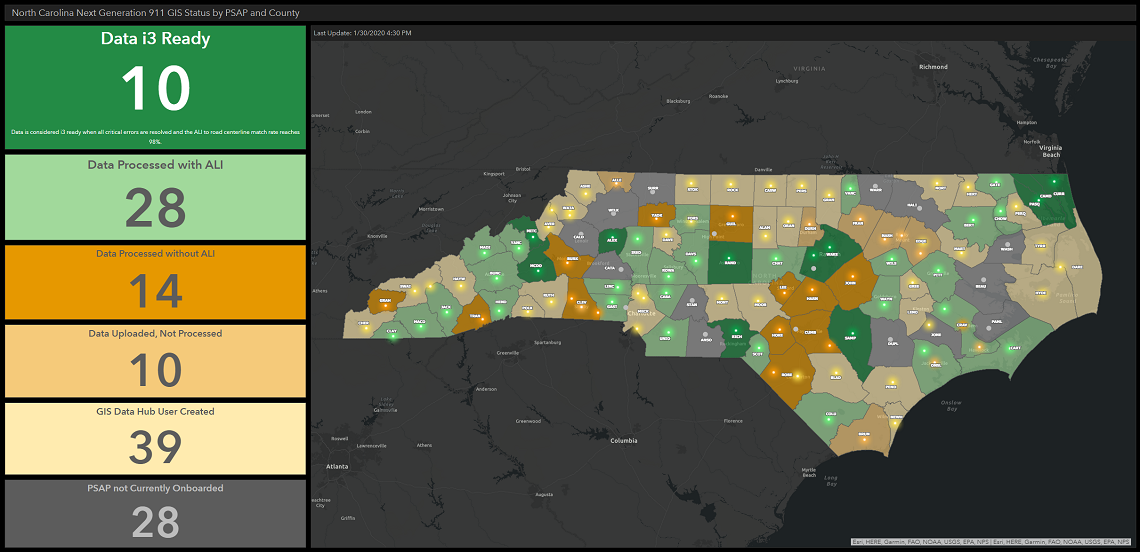 Screenshot of the North Carolina Next Generation 911 GIS Status by PSAP and County Dashboard map.