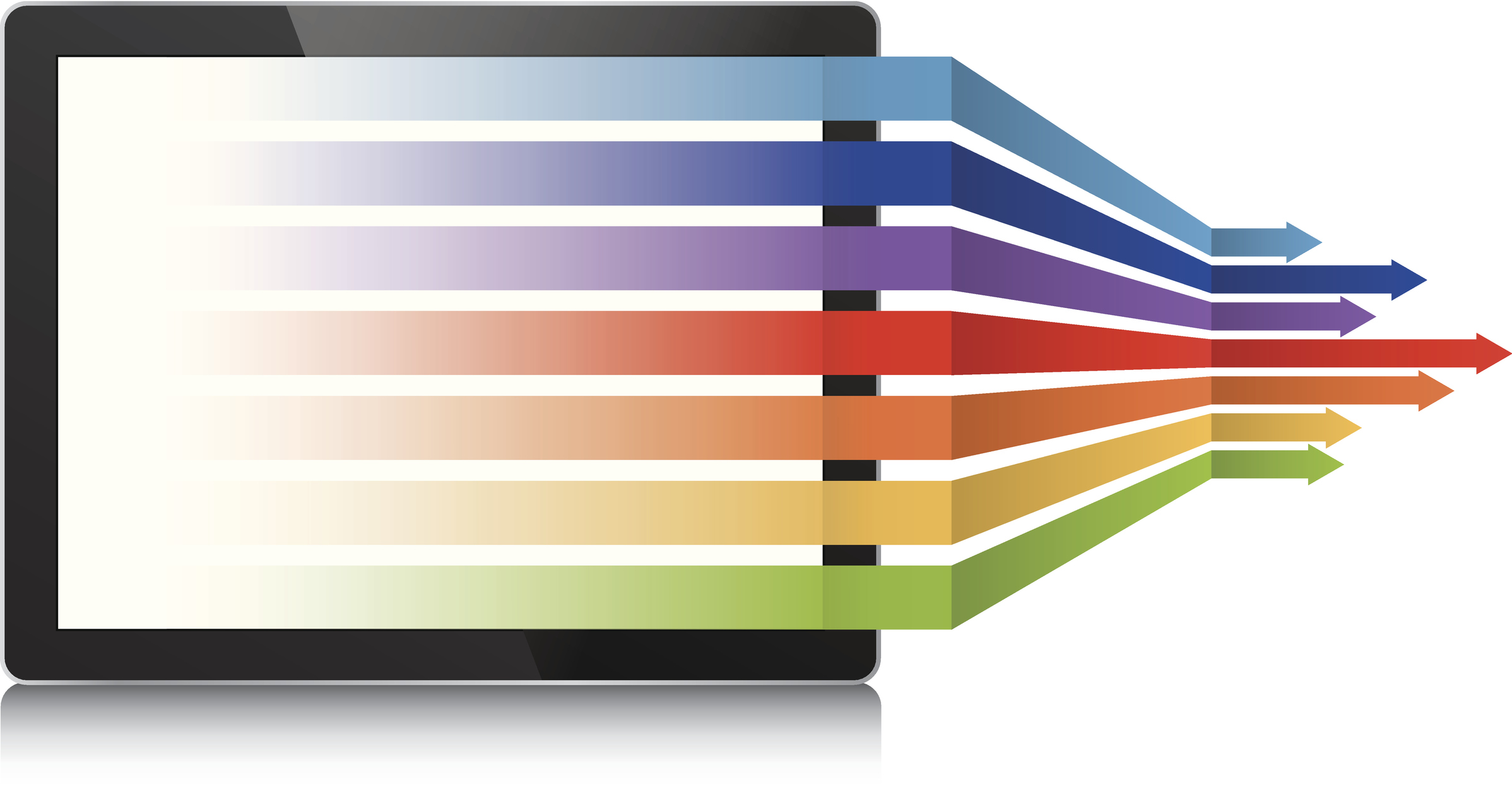 Illustration of rainbow of arrows flowing from digital notebook