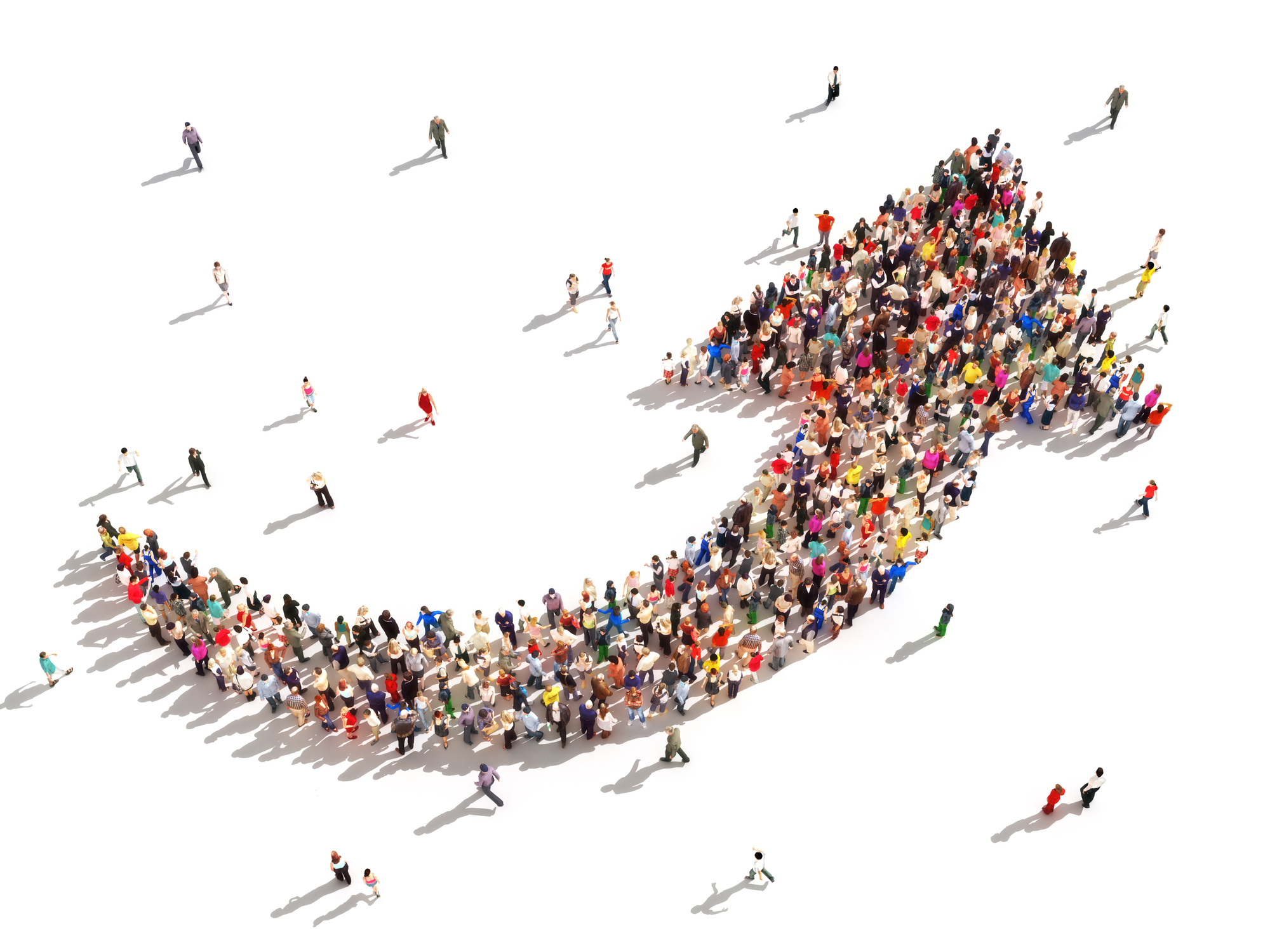 Illustration of people forming a giant arrow.