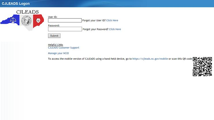 CJLEADS login screen