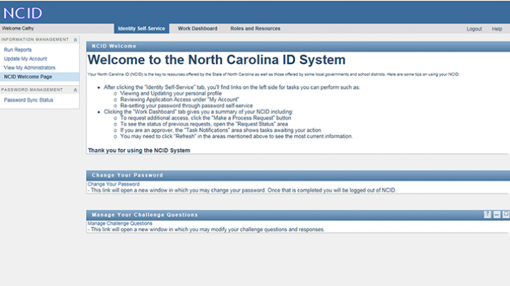 NCID welcome screen