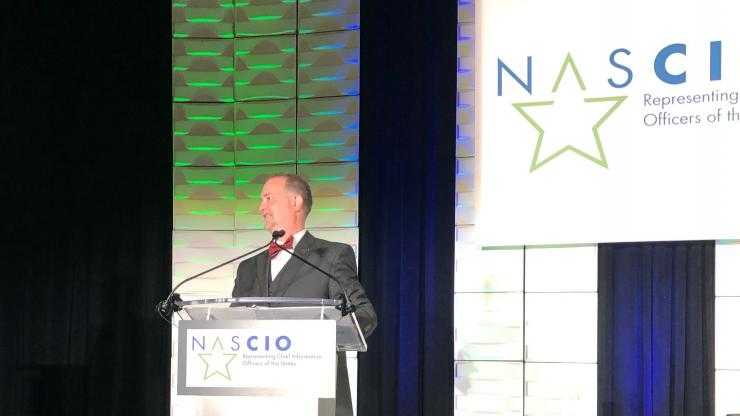 State Chief Information Officer Eric Boyette speaks at the NASCIO Annual Conference in Nashville after being elected this week president of the National Association of State Chief Information Officers.